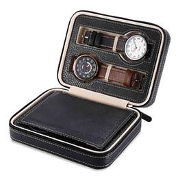 Modern Display Cases Australia - 4 Grids PU Leather Watch Box Jewelry Storage Case Watch Display Box caja reloj Container Jewelry Organizer