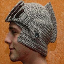 196b806b1b709 New Novelty Family Hats Roman Knight Helmet Caps Handmade Knit Warm Winter  Mask Hats Father and Kid Party Mask Beanies Cap