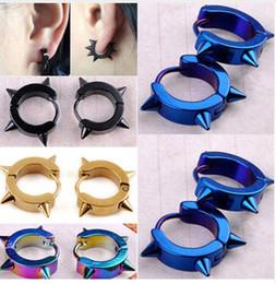 $enCountryForm.capitalKeyWord Canada - Rivet Spike Stud Earrings For Women Men 316L Stainless Steel Black Rock Nail Punk Earrings Female Male Jewelry