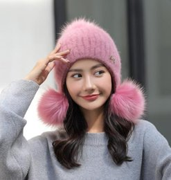 56f4a0bad98 New wool hat gloves for women winter thickening warm rabbit fur hat Korean  version of the cute fashion trend matching ear cap