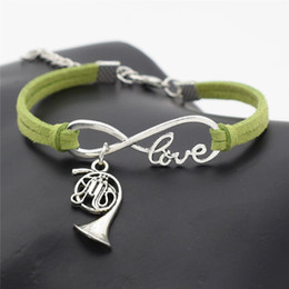 $enCountryForm.capitalKeyWord Australia - Infinity Love Musical Instrument French Horn Music Trumpet Pendant Charm Bracelets European Style Green Leather Suede Rope Cuff Jewelry Gift