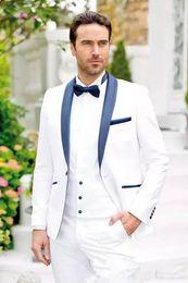 White Shawl Lapel Suit NZ - Trendy Design One Button White Groom Tuxedos Groomsmen Shawl Lapel Best Man Suits Mens Wedding Suits (Jacket+Pants+vest+Tie) No_676