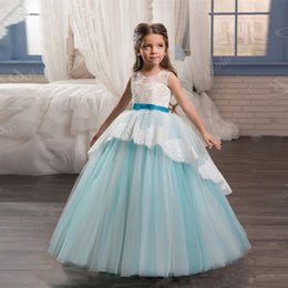 Wholesale Sky Blue Ball Gown with Sash Lace Backless Lace Up Mesh Flower Girl Dress for Weeding Hot Sale High Quality Custom Size Simple But Beautiful