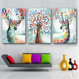 $enCountryForm.capitalKeyWord NZ - 3 Piece Nordic Style Poster Wall Art Abstract Color Deer Tree Painting Modern Canvas A4 Prints Animal Fashion Pictures Living Room Decor
