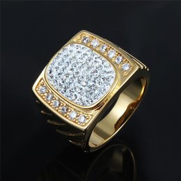 Cluster Rings NZ - Hot Luxury Design Full Diamond Gold Ring Fashion Men Cluster Rings New Style Hip Hop Rings Fashions Jewelry Lover Gift
