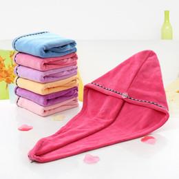 $enCountryForm.capitalKeyWord NZ - Free shipping 25*69cm Shower Caps Women Microfiber Magic Shower Caps Hair Dry Drying Turban Wrap Towel Hat Cap Quick Dry Dryer Bath towel
