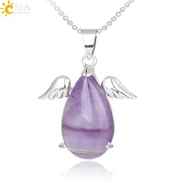 Amethyst Opal Pendant NZ - CSJA Girls Angel Wings Charms Real Natural Stone Jewelry Healing Amethyst Pink Crystal Opal Pendant Necklaces Valentine Christmas Gift E228