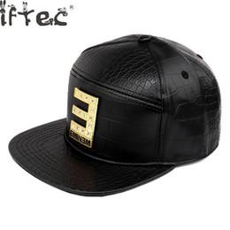 82d9dd789e0 Vogue Eminem Golden Crocodile Baseball Caps Pu Leather E Letter Snapback  Hats Rhinestone Hip Hop Hat For Men Women Casquette