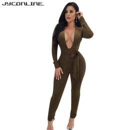 tight jumpsuits for women NZ - JYConline Deep V-Neck Skinny Bandage Rompers Womens Jumpsuit Winter Long Sleeve Sexy Overalls Tight Bodysuit For Women Macacao