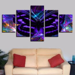 Butterfly Canvas Art UK - Frame Painting Artworks 5 Pieces Abstract Purple Butterfly Prints Wall Art Canvas Picture Modular Posters Decoration Living Room