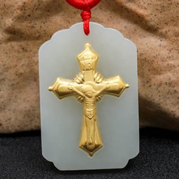 Couples Jade Pendant Australia - Gift Hetian Jade Cross Pendant 3d Three-dimensional Pattern Gold Jade Pendant Necklace Fashion Jewelry Jade Couple Models