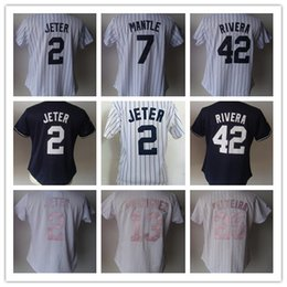 Barato Manto Azul-2018 Top Thai Women's 2 Jeter 13 Rodriguez 25 Teixeira 42 Rivera 24 Cano 7 Mantle Em branco Excellence Patch Jerseys de beisebol Branco Rosa Azul