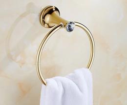 Ingrosso 2018 Portasciugamani in ottone massiccio oro mensola porta asciugamani portasciugamani Accessori da bagno di lusso a muro portasciugamani