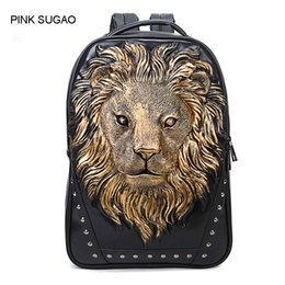 Chinese  Pink sugao backpack men designer backpacks 3 color top pu leather backpack computer bag 3D print animal Anti-theft bag travel school manufacturers