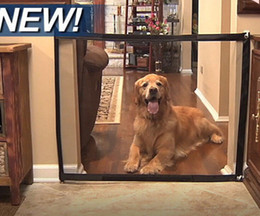 Discount safety gates - Dog Gate Mesh Magic Pet Gate For Dogs Safe Guard and Install Pet Dog Safety Enclosure Dog Fences