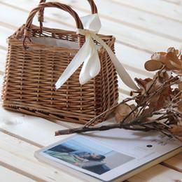 Discount soft weave beach bag - Handmade Woven Rattan Handbags Women Bow  Tie Beach Bag Summer 155d67f9cffc7