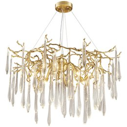 French iron chandeliers online shopping - Crystal chandelier light luxury living room designer French european style villa all bronze American modern lamps