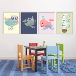 $enCountryForm.capitalKeyWord NZ - Mix 5 Designs Abstract Paintings Cute Animal Owl Wall Stickers For Kids Rooms Baby Room Wall Poster Home Decor Canvas Painting