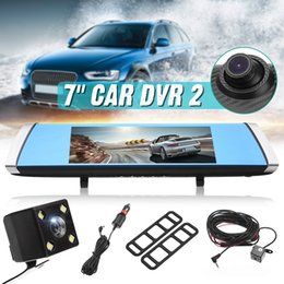 professional camcorder recorder Canada - 7 Inch Full HD 1080P 170 Degree Car DVR Camera Blue Rear View Mirror Video Recorder Dual Lens Registrator Dash Cam Detector