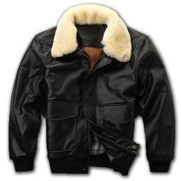 d195ec1966b 2018 Blacl Men A2 Pilot Leather Jacket Wool Collar Europe Size XXL Genuine  Sheepskin Russian Flight Leather Coat FREE SHIPPING