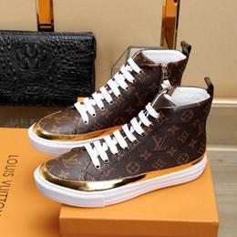 cee6afdc5e515 Flash-Angebote 2019 Männer Designer Luxus High Top Freizeitschuhe FRONTROW  Braun Leder Mode Trainer Mens Brand Designers Sneaker mit Box