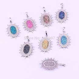 $enCountryForm.capitalKeyWord Australia - 8Pcs Fashion Silver Color Micro Pave CZ Natural Drusy Stone Titanium Charm Pendant Beads,Jewelry Finding