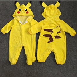 One piece jumpsuit patterns online shopping - Baby Rompers Pikachu Pattern Spring Autumn Toddler Infant Boys Clothes Girls Clothing Baby One piece Outfits Jumpsuit Cartoon Kids Clothes