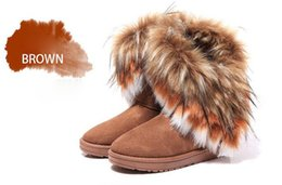 Women leather boot rabbit online shopping - Hot Fashion Rabbit hair and Fox Fur In tube Color matching warm snow winter boots for women ladies boots