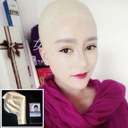 Full human mask online shopping - Hot Sale human mask crossdress silicone female unisex head mask halloween cosplay without hair latex bareheaded monk head mask