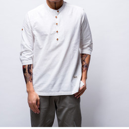 Mens Shirts Styles V Necks Canada - 86 New Fashion T-shirt Mens coon Linen t shirts Three Quarter Sleeve Solid V Neck Slim Fit tees Chinese Style casual Tops