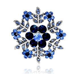 $enCountryForm.capitalKeyWord NZ - Vintage Blue Snowflake Flower Brooches For Women Hats Dresses Crystals Round Corsage Antique Silver Plated Turkish Brooch Drop Ship