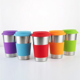 Mug foods online shopping - 500ml Stainless Steel Cup Single layer Beer Cups Coffee Mug With Food Grade Silicone Lids Without Straw