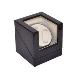 wood box watch case 2019 - Watch Winder ,LT Wooden Automatic Rotation 2+0 Watch Winder Storage Case Display Box (Outside is black and inside is whi