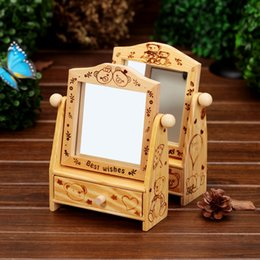 Wholesale Wood Boxes NZ - 2pcs lot Wedding Gifts Wooden Desk Cosmetic Makeup Organizer Dressing Table DIY Wood Jewelry Storage Box with Drawer