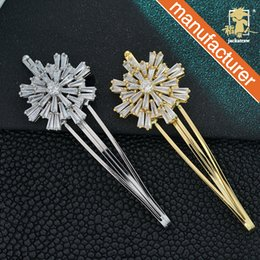Korean Zircon Accessories NZ - Romantic snowflake hair accessories Korean pop hair clip metal micro-inlaid zircon diamond drill disk hair drop clip hairpin