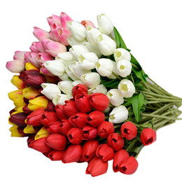Tulip decor online shopping - 10pcs Tulip Artificial Flower Latex Real Touch Bridal Wedding Bouquet Home party garden Decor European Style fake flowers