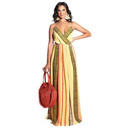 Bright Maxi Dresses Dgt Ladies Maxi Dresses Summer Autumn 2018 Plus Size CHEAP Long Boho Beach Dress  F0265 V Neck