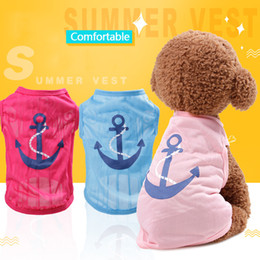 Blue Shirt For Wedding Australia - Fashion Pet Dog Vest Cute Cartoon Anchor Heart Printed Dog Clothes for Cat Puppy Pink Blue T-Shirts Party Customes