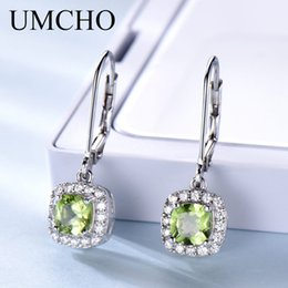 Discount square jewelry gemstones - UMCHO 1.36ct Natural Peridot Square Drop Earrings Genuine Silver 925 Elegant Casual Jewelry Gemstone For Women Wedding G