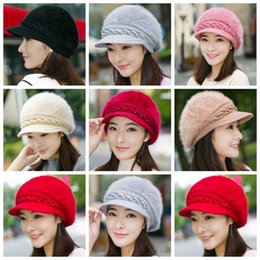 d9a1110757532 Lady Fashion Beanies Knitted Rabbit Fur Inside Wool Yarn Thickened Warm  Autumn Winter Women Solid caps Hats berets GGA1291