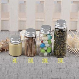 Discount glass pill bottles - Glass Bottles Aluminium Swivelling Cover Jars 8ml 15ml 20ml 25ml Bottles Decoration Weding Gift Candy Pill Tea Container