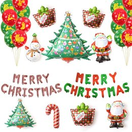 balloon santa claus UK - Wholesale 25 PCS Set Happy New Year Merry Christmas Letters Foil Balloons Santa Claus Tree for Xmas Christmas Party Decoration Free Shipping