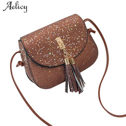 Silver Sequin Shoulder Bag NZ - Aelicy Leather Women's Handbags Fashion Womens Sequins Tassel Messenger Bag Shoulder Bag Ladies Crossbody Bags High Quality