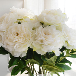 Big flowers peonies online shopping - Pink White Artificial Flowers Bouquet Peony Silk Flower European Heads Big Peonies Fall Vivid Fake Leaf Flower Wedding Home Party