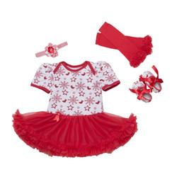 $enCountryForm.capitalKeyWord NZ - Newborn Girl Christmas Clothing Set 0-24Month Baby Girl Cotton Snowflake Rompers Baby Jumpsuit Tutu Dress+Shoes+Leg Warmer+Headband=4PCS Set