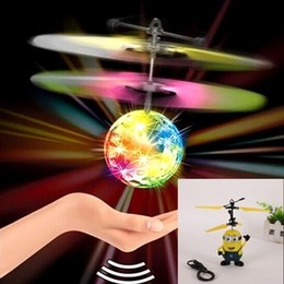 Flashing Helicopter Toy Australia - RC Drone Flying Ball Aircraft Helicopter Led Flashing Light Up Toys Induction Electric Toy Drone For Kids Children Christmas gifts