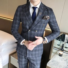 men chinese vest NZ - Mens Suit Vest With Pant 3 Piece Double Breasted Chinese Retro Plaid Slim Fitted Male Tuxedo Wedding Suits for Men 2018 Mauchley
