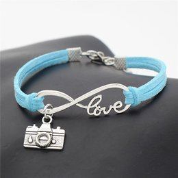 camera pendants wholesale Australia - 2018 Brand Handmade Fashion Vintage Infinity Love Camera Pendant Charm Jewelry Blue Leather Rope Statement Bangles & Bracelet For Women Men