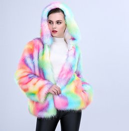 long hooded parka women UK - New fashion design women's winter warm hooded artificial faux fox fur tie-dyeing gradient color long sleeve coat parka casacos SMLXL
