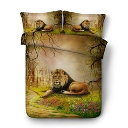 China 4 6pcs lion bed cover set for kids adult Single full Queen Super King size bed sheets 3d animal bedding double bed linen cheap super king size 3d bedding sets suppliers